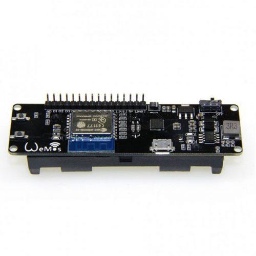 بورد توسعه Wemos دارای هسته وایفای ESP8266، مدار شارژ و سوکت باتری لیتیوم یون 18650